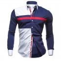 Camisa Casual Esportiva Jovem Branco e Azul