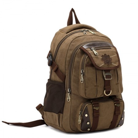Fashionable Backpack Brown Jeans Buckle Travel and School Unisex