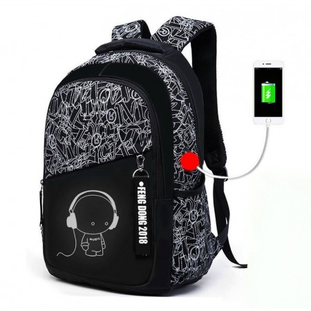 Student Oxford Backpack with USB Stamped Unisex Drawings