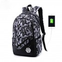 Printed Backpack School Purse Casual Usb Charge Blue and Gray