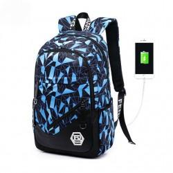 Mochila Estampada Bolsa de Escola Casual Usb Charge Azul e Cinza