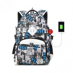 Printed School Backpack Casual Newspaper Unisex USB Clippings