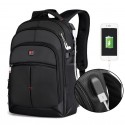 Black Laptop Backpack Notebook USB Charger Free Shipping