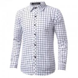 Shirt Slim Fit Social Men's Long Sleeve Plaid