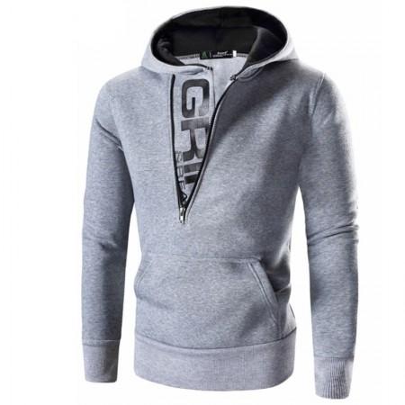Men's Casual Sweatshirt Ziper Sport Hooded Kangaroo Pocket Ziper