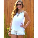 White Beach Blouse Women Decorated Regatta