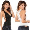 Blusa Fashion Feminina Branco e Preto de Verão Calitta