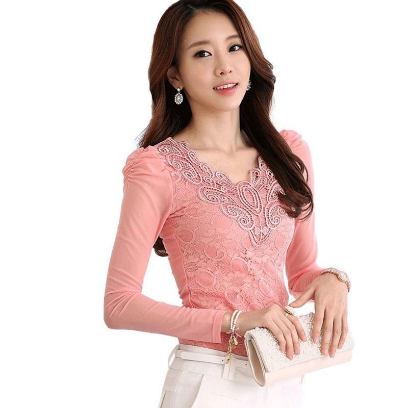 Women'S Pink Long Sleeve Blouse 10