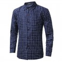 Shirt Slim Fit Social Men's Long Sleeve Plaid