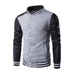 Hooded jacket Casual Male College Shredded Leather Sleeves