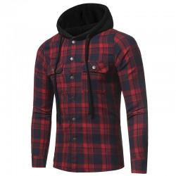 Camisa Casual Masculino Com Capuz Xadrez Moda inverno
