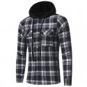 Men's Casual Hooded Shirt Winter Fashion Chess