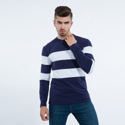 Men's Cold Jacket Striped Long Sleeve Wool Pullover