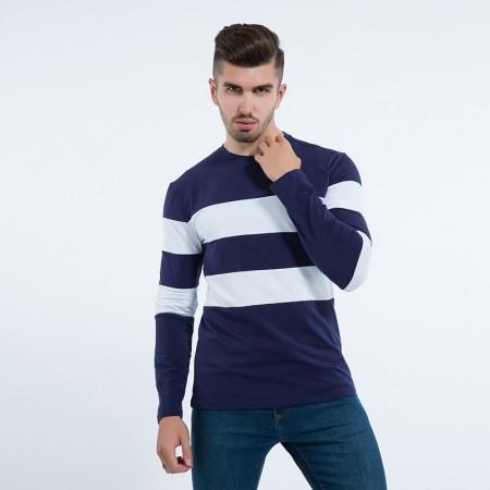 Blusão Masculino de Frio Listrado Camisa Manga Longa Lã Pullover