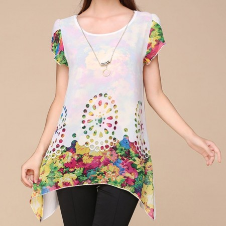 Flower Blouses Colored Womenswear Spring