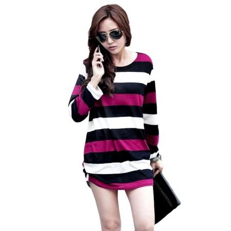 Striped blouse Women's Fashion Winter Purple Long Sleeve