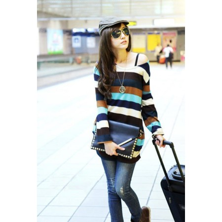 Striped blouse Women's Fashion Winter Purple Long Sleeve