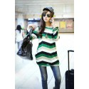 Striped blouse Women's Fashion Winter Purple Long Sleeve pullovers