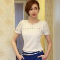 Blouse Top T Women's White Lace Casual V-Neck