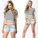 Mini Blouse Striped Women Top T Gray Casual Summer Beach Fashion