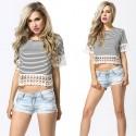 Mini Blusa Listrada Feminina Top T Cinza Casual de Verão Moda Praia