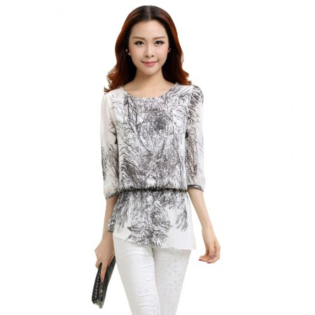 Blouse Long White Embossing Graphite Ladies Casual Top T