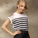 Elegant blouse Striped Casual Women's Floral Summer White