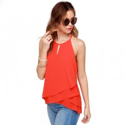 Blouse with Ruffles Women Orange Summer Women