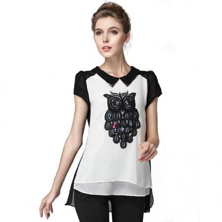 Blusa moda Urbana Feminino Branco e Preto Estampado