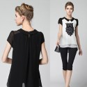 Blouse fashion Urban Female White and Black Stamped