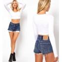 Mini Blusa Casual Feminina moda Inverno Top Camiseta Fit T