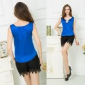 Satin Blouse Casual Various Colors Women with Cleavage