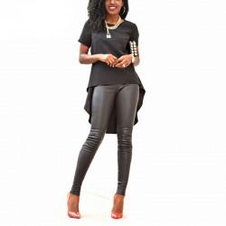 Blusa Plus Size Feminina Preto e Branco Comprida Moda Festa