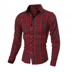 Plaid Shirt Casual Slim Fit Men's Long Sleeve RedPlaid Shirt Casual Slim Fit Men's Long Sleeve Red. Cotton material.