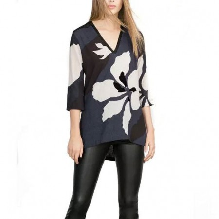 Long Floral Blouse Women Casual 3/4 Sleeve Elegant Lady