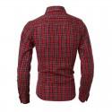 Camisa Xadres Casual Slim Fit Masculina Vermelha Manga Longa