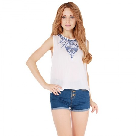 Blouse Casual Tank Top White Stamped and Black Top Shirt Women