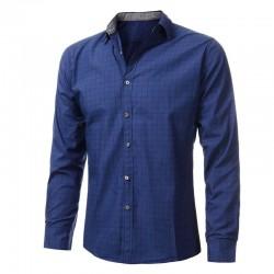 Casual Shirt Men's Plaid Slim Fit Long Sleeve