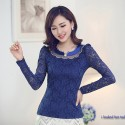 Embroidered blouse and Stones Long Sleeve Lady Casual Blue Black and White
