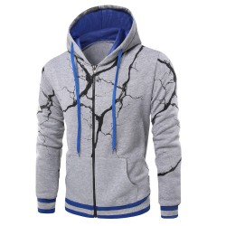 Moletom Estampado Zipper Casual Masculino Blusão de Frio Com capuz