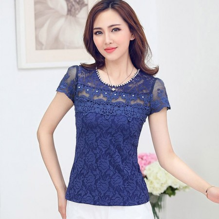 Crystal Blouse Elegant Casual Women Fashion Lady Woman