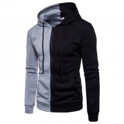 Men's Basic Sweatshirt Shrunken Casual Zipper Hooded