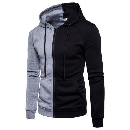 Men's Basic Sweatshirt Shrunken Casual Zipper Hooded