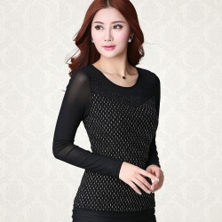 Elegant Ladies Blouse Black Diamonds Party Sophisticated Long Sleeve