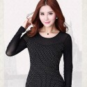 Elegant Ladies Blouse Black Diamonds Party Sophisticated Long Sleeve
