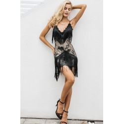 Sexy Black Lace Women's Sexy Fringed Edge Dresses