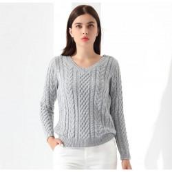 Sweater Feminino Pulôveres de manga Longa De Malha Camisola