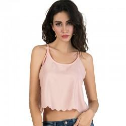 Mini Blusa Rosa Feminina Regata Moda Verão Casual em Chiffon