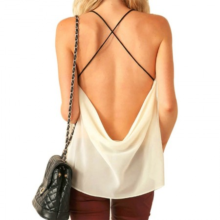 Blouse Sexy Party Night Women White Summer Fashion in Chiffon