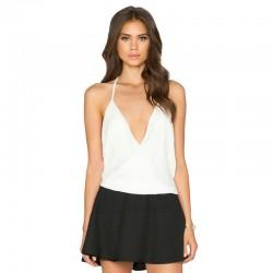 Blusa Feminina Branca Casual Decote Profundo Moda Verão